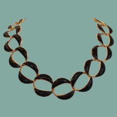 Vintage Napier Navy Blue Enamel Chunky Choker Necklace