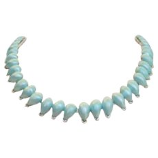 Vintage Baby Blue Pearlescent Choker Necklace