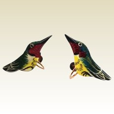 Vintage Takahashi Style Humming Bird Earrings Hand-Painted Wood Gold-Filled