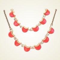 Vintage Pearlescent Tangerine Lipstick Lucite Set Necklace Bracelet