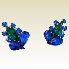 Vintage Sapphire Blue and Emerald Green Rhinestone Earrings