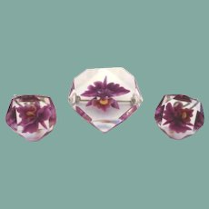 Vintage Octagon Reversed Carved Clear Jelly Belly Lucite Set Orchids Purple