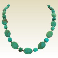 """Beautiful Natural Turquoise Choker Necklace Sterling Silver 3"""" Extender"""
