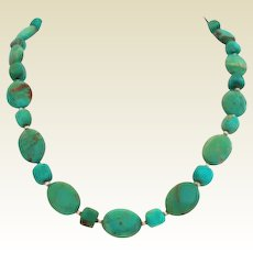 "Beautiful Natural Turquoise Choker Necklace Sterling Silver 3"" Extender"