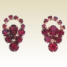 Vintage Red Rhinestone Cut Out Earrings