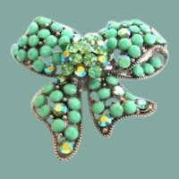 Vintage Kirk's Folly Whimsical Rhinestone Bow Brooch Pendant Pin 3-Dimensional Aurora Borealis