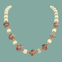 Vintage Italian Glass Wedding Cake Treasure Bead Necklace Hand Blown Opaline Beads