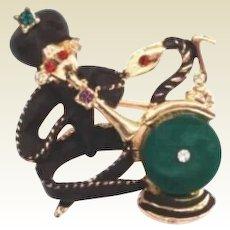 Whimsical Vintage Snake Charmer Figural Brooch Sultan Pants Musical Notes Flute Jewels Rhinestones