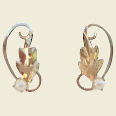 Pristine Signed Vintage Cultured Pearl & 14KT Gold Filled Earrings With Tiny Bird