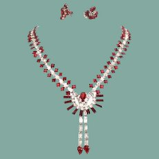 Vintage 925 KREISLER Hollywood Glamour Siam Red Rhinestone Set