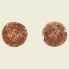 Vintage Gold & Bronze Confetti Lucite Earrings