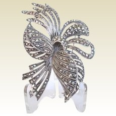 Captivating Large Vintage Marcasite Flower Brooch Pin
