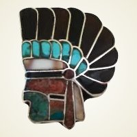 Vintage Native American Ring One-of-a-Kind Indian Chief's Head Multiple Stone Inlay Sterling Silver