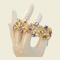 Divine Vintage Bracelet Glitz Galore AB Rhinestones Gold-Plated Metal Excellent