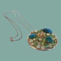 Vintage Alice Caviness Large Rhinestone Medallion Necklace Florals Art Glass Stones