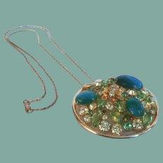 Vintage Alice Caviness Large Rhinestone Medallion Necklace Florals Art Glass Stones