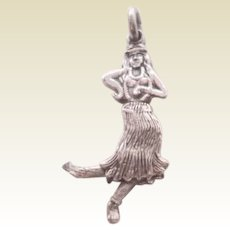 Vintage Mechanical Hula Dancer Sterling Silver Charm