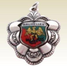 Vintage Belgium Bruxelles Souvenir Charm Winged Warrior & Demon Sterling Silver