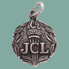 Vintage JCL Sterling Silver Charm Junior Classical League Lighted Torch Florals Marked