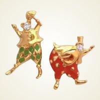Vintage Trifari Set of Clowns Rhinestones Vibrant Enamels Pins