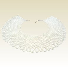 Vintage Wide Faux Seed Pearl Lace-Like Bib Collar Necklace