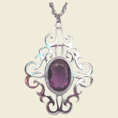 """Vintage Sarah Coventry """"Royal Flair"""" Statement Necklace Amethyst and Silver"""