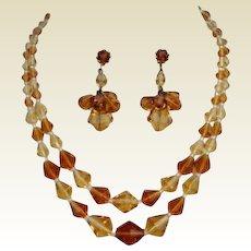 Vintage German Topaz & Citrine Crystal Set Necklace & Dangle Earrings