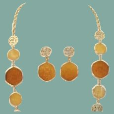 Vintage Sarah Coventry Taste of Honey Amber Set Stain Glass Style