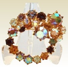 Stunning Vintage Signed Karu Arke STAR Settings Brooch Pin Aurora Rhinestones
