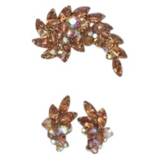 Vintage Juliana D&E Set Smoked Topaz Rhinestones Dangling Crystals