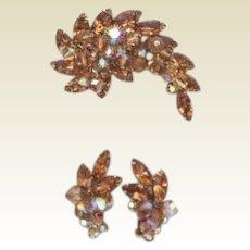 Vintage Juliana D&E Set Smoked Topaz Rhinestones Dangling Crystals