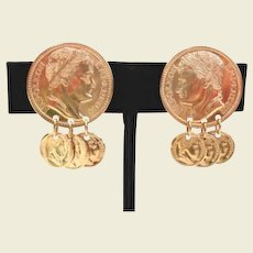 Vintage Bright Shiny Dangling Roman Coins Earrings Napoleon Signed