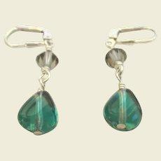 Pierced Hand Blown Glass & Crystal Dangling Earrings Sterling Silver