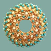 Vintage Elegant Signed White Opal Rhinestone and Faux Turquoise Brooch Pin