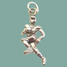 Vintage Sterling Silver Football Player Charm
