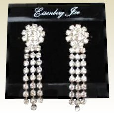 Vintage Eisenberg Ice Pierced Dangle Rhinestone Earrings