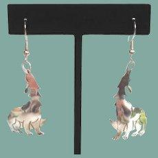 Vintage Sterling Silver Pierced Coyote Earrings Dangles