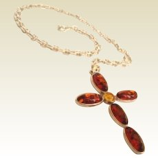 Vintage Natural Baltic Amber Sterling Silver Cross Necklace