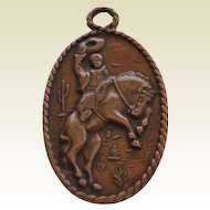 Vintage Bell Trading Post Pendant Cowboy Bucking Bronco Horse Rider