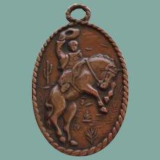 Vintage Bell Trading Post Pendant Cowboy Bucking Bronco Horse Rider