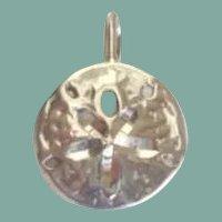Vintage Sea Cookie Sterling Silver Pendant Sand Dollar