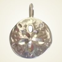 Vintage Sea Cookie Sterling Silver Pendant Sand Dollar