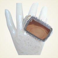 Xmas Sale Native American Phenomenal Picture Agate Bracelet Sterling