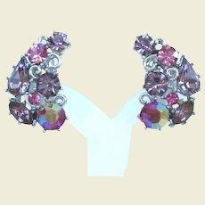 Vintage Lisner Purple Lavender and Pink Rhinestone Earrings