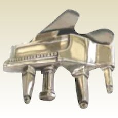 Vintage Sterling Silver Concert Grand Piano Brooch Pin Signed