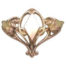 Exquisite Antique Art Nouveau 10KT Gold Brooch Pendant G.F.