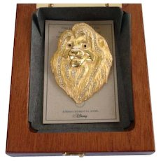 Rare Disney The Lion King Limited Edition Pin 2000 Majestic King of the Jungle Box with Paper Gold Plated Rhinestones