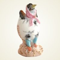 Vintage Porcelain Duck Dressed in Eggshell Figurine with Gold Highlights