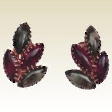 JULIANA D&E – Red & Green Marquis Rhinestone Earrings Gold Dog-Tooth Settings