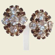 Bold Vintage Smoked Topaz & Clear Rhinestone Earrings Gold Tone